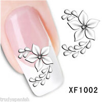 Nail Art Water Decals Stickers Black Daisies Flowers Floral Gel Polish (xf1002)