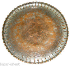 66cm antik Massiv orient Kupfer tablett Teetisch Afghanistan Copper tray No-9