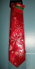 Musical Christmas Necktie Plays Jungle Bell w/Snowflakes Print.