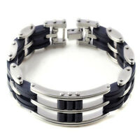 Men's Fashion Black Silver Stainless Steel Rubber Charm Unisex's Bracelet Bangle