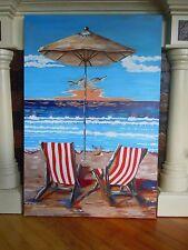 Beach Chairs, Umbrella, Ocean, Seashore