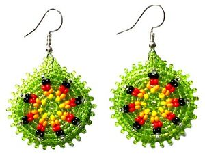 NATIVE STYLE HANDCRAFTED ROUND LIGHT GREEN HOOK DROP/DANGLE EARRINGS USA 60/54