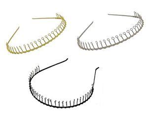 Small Tight Fit Metal Wire Comb Football Sports Narrow Alice Band Hair Headband