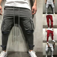 Mens Casual Pant Gym Fitness Workout Pants With Cargo Pockets Joggers Sweatpants