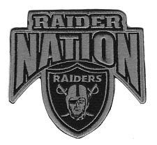 """🔥 4"""" OAKLAND RAIDERS RAIDER NATION The Silver and Black Iron-on Jersey PATCH!🔥"""