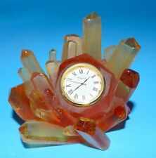 BEAUTIFUL & RARE NANCY DAUM Signed AMBER / TOPAZ COLOR Crystal FORM QUARTZ CLOCK