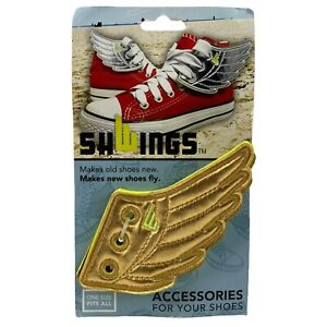 Shwings Shoe Accessory Charm Lace Onto Any Shoe Sneakers Neon Green & Gold Wings
