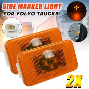 Pair 24V 4 LED Side Marker Light Lamp Indicator Amber For Volvo FM FH FL