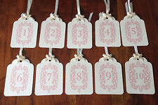 Vintage Style Table Numbers 1-10 Ivory & Pink with Ivory bows and ribbons.