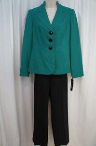 Evan Picone Pant Suit Sz 6 Jade Green Black Gramercy Park Business Cocktail Work