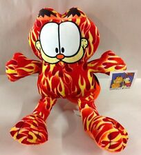 """GARFIELD PLUSH STUFFED ANIMAL FIRE FLAMES CAT DOLL RED TOY 10"""""""