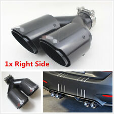 1xRight Car Dual Exhaust Pipe Tail Muffler End Tip 63mm Inlet 89mm Outlet Glossy