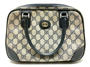 Vintage Gucci Top Handle Navy/Grey GG Monogram Canvas Leather Satchel Handbag