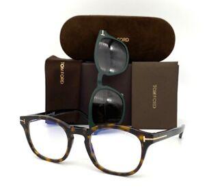 Tom Ford FT5532-B Havana / Blue Block/ Brown Clip on 49mm Eyeglass TF5532-B