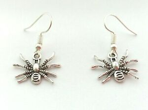 Spider Earrings for Halloween Silver Plated Hook Spooky Goth Halloween Jewellery
