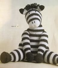 "DK Knitting Pattern Toy Animal Zebra Measures 9.5"" In Height"