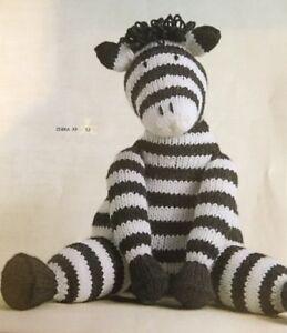 "DK Knitting Pattern Toy Animal Zebra Measures 9.5"" In Height"