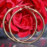 """14k yellow gold earrings 1.5"""" high polished hoop vintage handmade 1.5gr"""