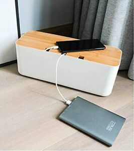Cable Management Box White Organizer Extension Cord Box for Desktop Home Office