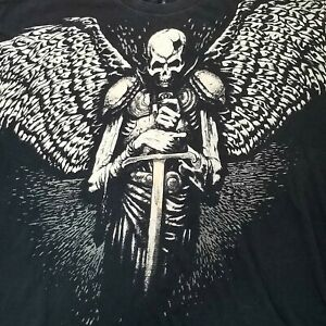 Xzavier Mens Black Beige Demonic Skeleton Wings Sword Shirt Big/Tall 4XL couture