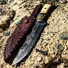 "10.5"" Damascus Steel Full Tang REAL Bone Handle Hunting / Bowie Knife & Sheath -"
