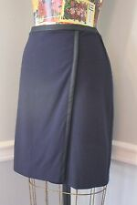 Ann Taylor Faux Leather Trim Faux Wrap Straight Skirt Career Size 6 Navy Blue