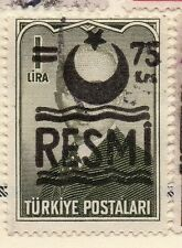 Turkey 1955-56 Optd Resmi Star & Crescent Issue Fine Used 75k. Surcharged 086006