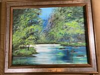 """Betty Berry Spatz 1985 """"River Landscape Scene"""" Oil Painting - Framed And Signed"""