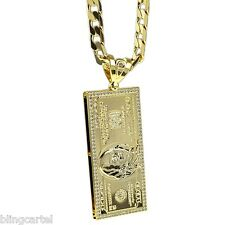 "One Hundred Dollar Bill 14k Gold Plated Charm $100 Cash Pendant 30"" Cuban Chain"