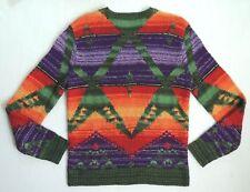 Polo Ralph Lauren Sarape indio navajo Suéter De Esquí De Seda Tejido a Mano De Lino Medio