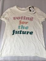 New: Voting For The Future - Short Sleeve Graphic T-Shirt - Light Beige - Size M