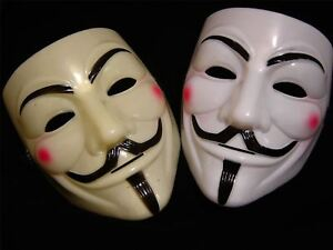 1 X ANONYMOUS V FOR VENDETTA GUY FAWKES FANCY DRESS COSTUME FACE MASK 2 COLOURS