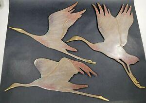 SPI Home 3 Soaring Cranes Flying Crane Wall Plaque Décor Set Brass