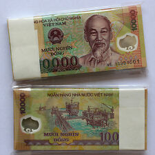 One Bundle of 100pcs Vietnam Viet Nam 10000 Dong Polymer Banknotes,Uncirculated