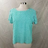 Vintage The Produce Company size Medium Chenille Shirt Teal Top Lace Sleeve