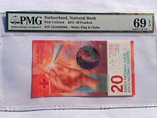 Switzerland, 2015 20 Franken PUnlisted PMG 69 EPQ