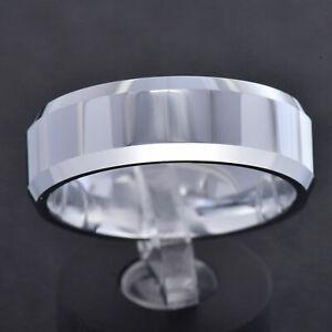 8mm Tungsten Carbide High Polish Pipe Cut Beveled Edge Band Mens Wedding Ring TR