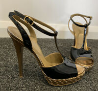 Auth Yves Saint Laurent YSL Patent Leather Tribute Heel Sandals Size 38
