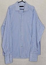 Pierre Cardin Blue & White Striped Long Sleeve Dress Shirt - Size L - 16.5""