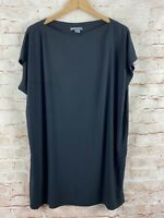 Vince Womens Black Cap Sleeve Oversized Black Blouse Top Tee Size Medium