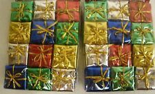 """24 Miniature Foil Christmas Packages Ornaments 1"""" x 1""""  - crafting decor"""