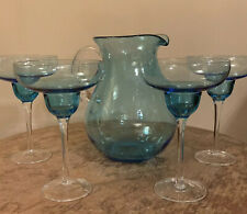Aqua Blue Pitcher And 4 Mexican Margarita Cocktail Sangria Glasses - Retro