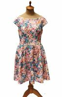Betsey Johnson Fitted Waist Cut Out Floral Print Ladies Dress Size 6