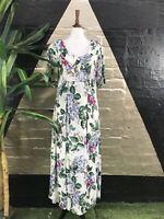 Original Vintage 1980 Rayon Short Sleeve Floral Maxi Dress with Collar