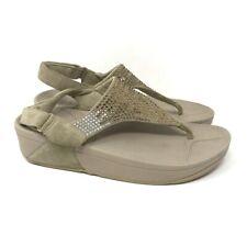FitFlop Womens Flare Slingback Sandals Beige Leather Rhinestone Jeweled Thong 9