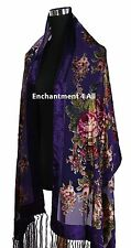 Handmade Elegant 100% Silk Burnout Velvet Vintage Floral Scarf Shawl Wrap Purple