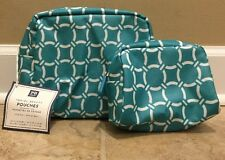 NEW 2PC Pottery Barn Teen Travel Beauty Pouches BALTIC BLUE
