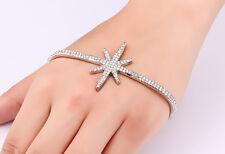 8 inch Fashion Hand Palm Star Bracelets Bangles for Women Silver Rhinestone UK