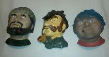 ☆ Vintage Lot Of 3 Chalkware Heads Fisherman / Detective /Sailor - Cigar & Pipe