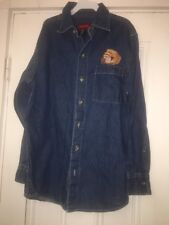 Boys Arizona Long Sleeve Shirt Denim Sz Med 10-12 Baseball Glove Embroidered